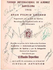 Programa del Torneo Internacional de Ajedrez Barcelona 1946