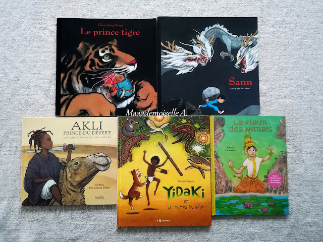    Sélection de livres sur les enfants dans le monde : Le prince tigre - Sann - Akli, prince du désert - Yidaki et le temps du rêve - La fleur des marais