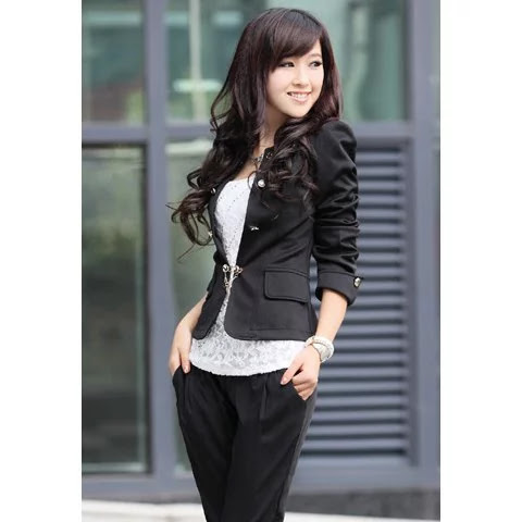Elegant Solid Color Bowknot Embellished Cotton Blend Blazers For Women - Black