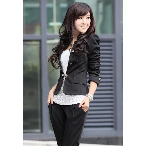Elegant Solid Color Bowknot Embellished Cotton Blend Blazers For Women - Black