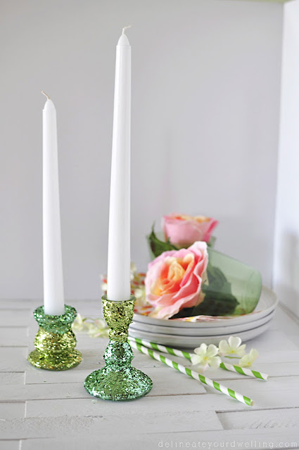 Pretty DIY glitter candlesticks
