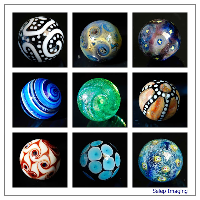 contemporary glass marbles by Frank Scott and Joe Holford lampwork