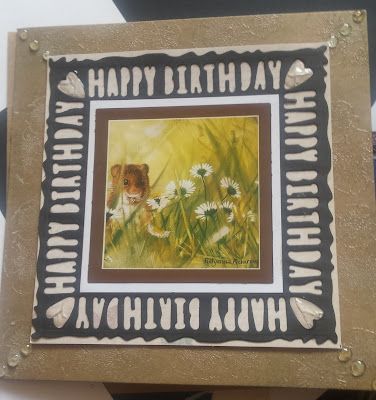 Happy birthday card using Pollyanna Pickering field mouse design