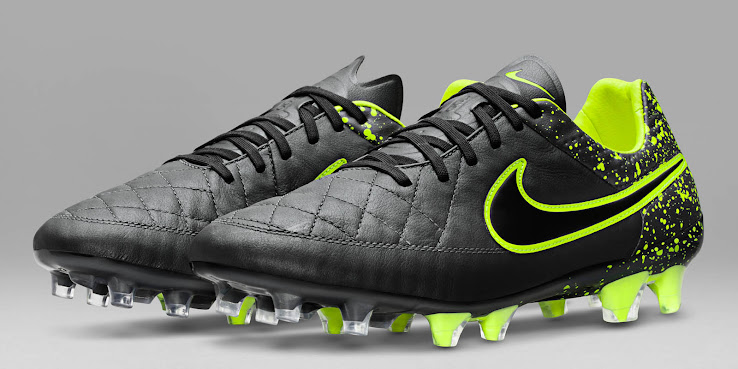 info for 03447 bdbf6 The new black Nike Tiempo Legend V 2015-2016 Electro Flare Soccer Cleats  combine the understated main color anthracite with striking yellow  applications to ...