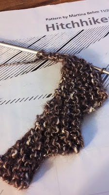 """Knitting a Hitchhiker scarf with Lion Brand """"Shawl in a Ball"""" yarn"""