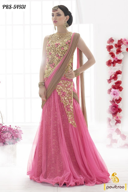 Top Indian heavy work pink color net designer embroidery sarees online collection for wedding parties with discount sale