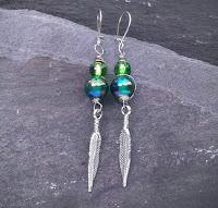 Green/blue Feather Earrings