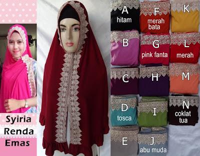 Model Jilbab Terbaru Syiria Renda Emas