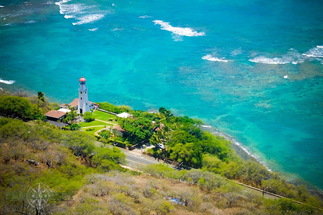 The View from the top of Diamond Head on the island of Oahu.