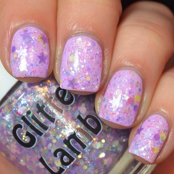 Lilac Mascara Glitter Lambs Nail Polish Swatch by JessFace90x