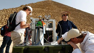 Scientists prepare muon detector at the Great Pyramid (Source: Smithsonian.com, November 5, 2017)