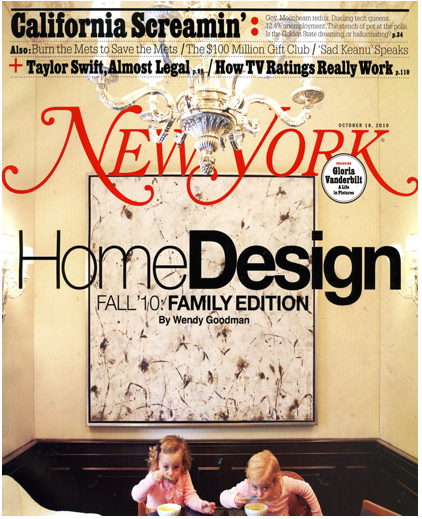 New York magazine cover with Betsy Eby bstract encaustic painting and children eating in breakfast bar nook.