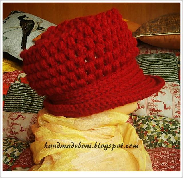 Malinowa szydełkowa czapka-kapelusz. Zrób razem ze mną :-)