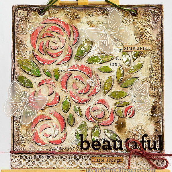 Layers of ink - Roses Mixed Media Panel Tutorial by Anna-Karin Evaldsson. With SSS Blossoms and Butterflies.
