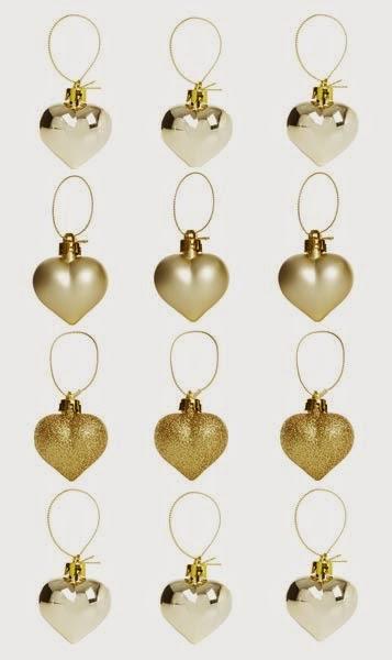 Primark Navidades: corazones dorados para decorar