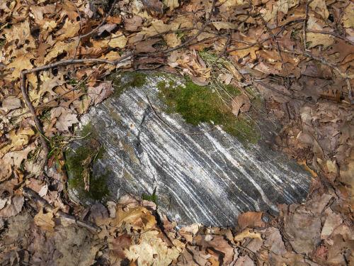 striped glacial erratic rock