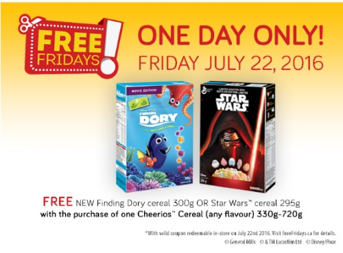 *Reminder* Free Finding Dory or Star Wars Cereal Coupon