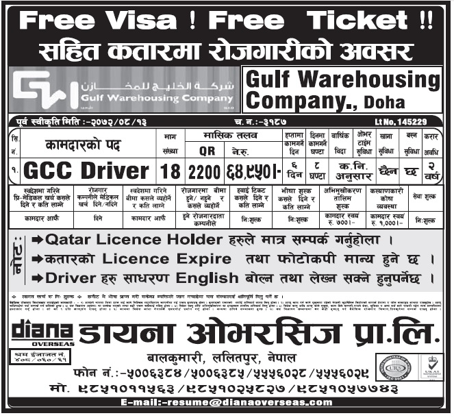 FREE VISA FREE TICKET JOBS IN QATAR FOR NEPALI, SALARY UP TO RS 64,760