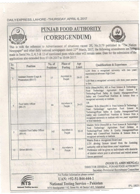 Jobs in Punjab Food Authority