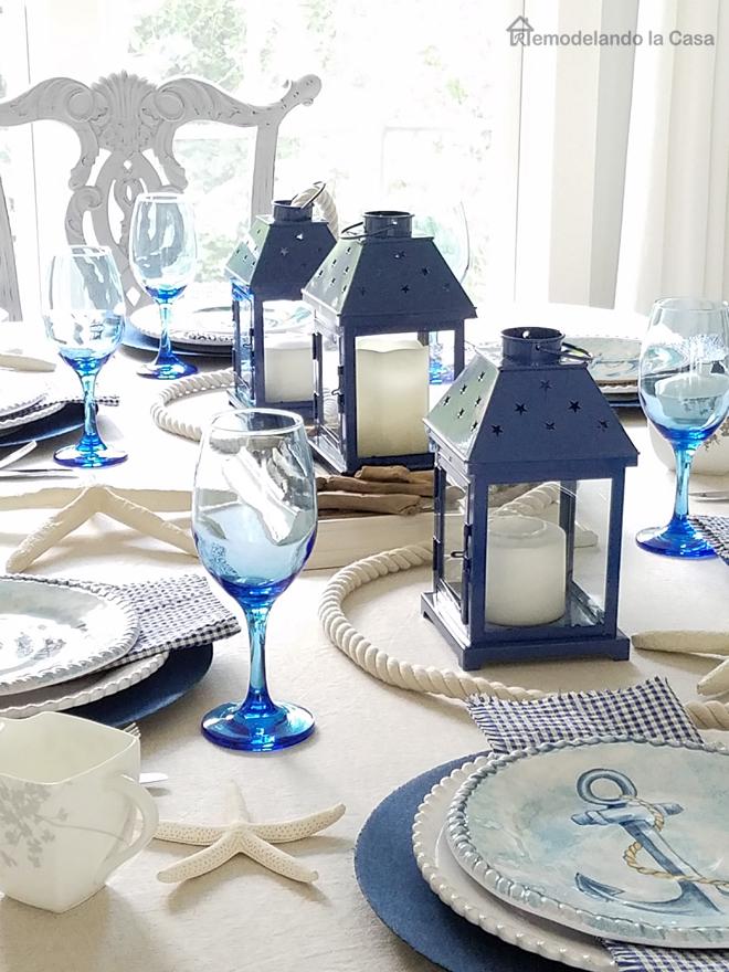 Blue And White Coastal Tablescape