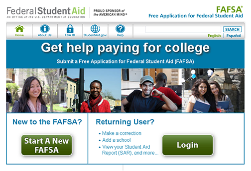 snapshot of FAFSA web home page.  Images of students smiling at camera.  Text: Federal Student Aid.  Get help paying for college.