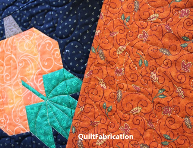 quilting and backing fabric on the Pumpkin Harvest quilt