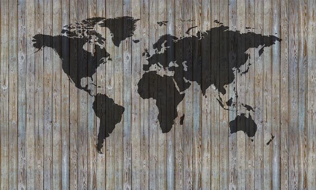 Lautaseinä Tapetti puu puujäljitelmä maailmankartalle