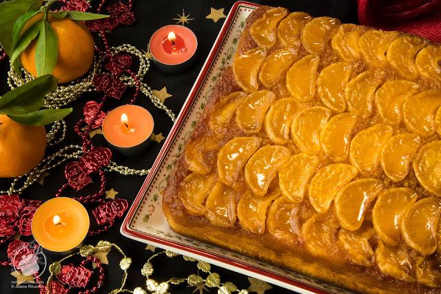 Navidad 2018. Tarta-bizcocho invertido de mandarinas con caramelo y yogur de mandarina.