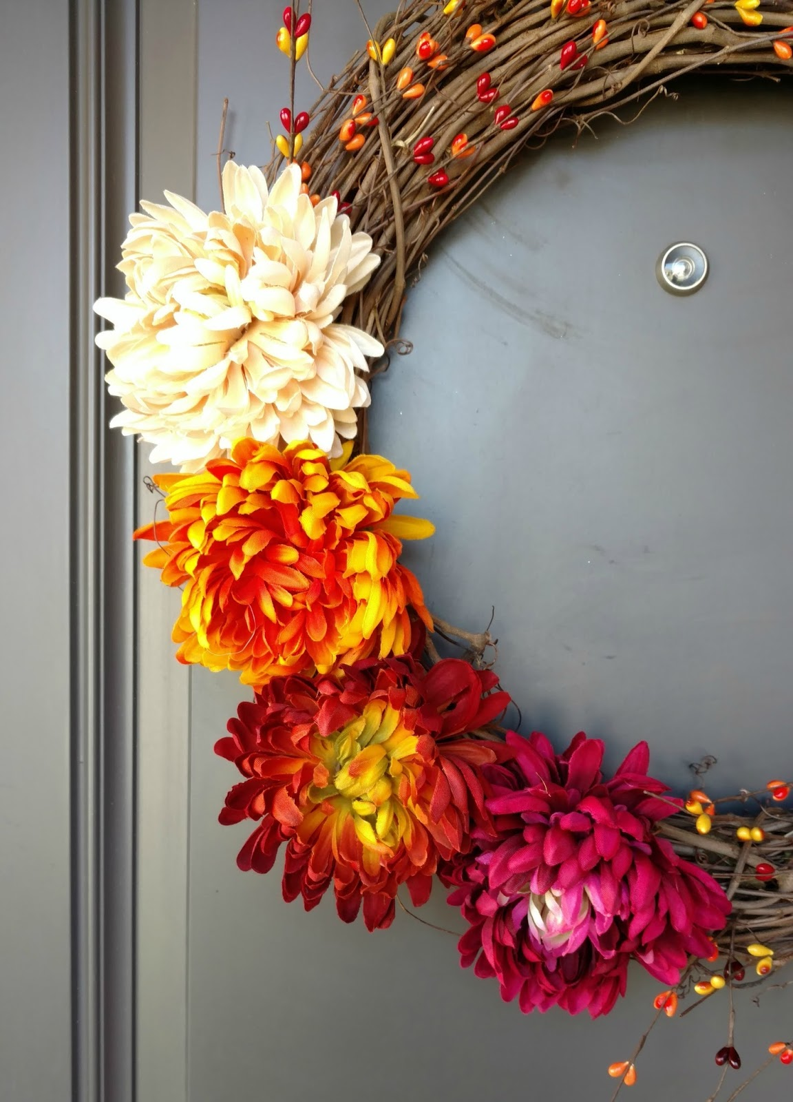 Fall Flowers And Berries Wreath