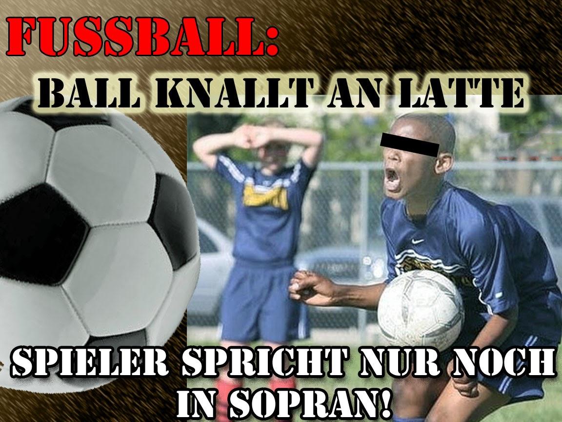 Satire Bilder Fussball knallt an Latte lustig