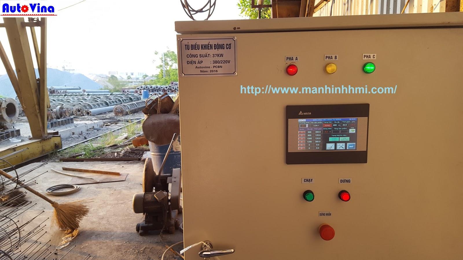 Tủ biến tần Fuji điều khiển dàn quay ly tâm sản xuất cọc bê tông dự ứng lực