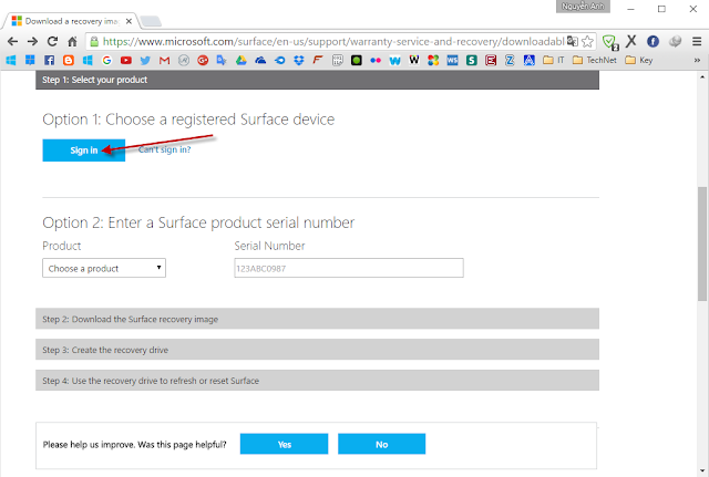 Hướng dẫn tải recovery image cho máy Surface từ trang chủ Microsoft