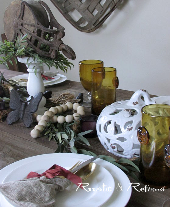 Fall Tablescape with white dishes