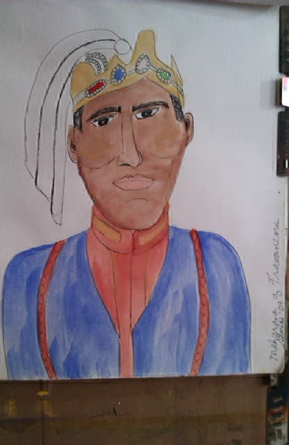 """Maharajah"" sketch one is a series drawn and painted by Gloria Poole;"