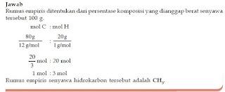 Contoh Soal Penentuan Rumus Kimia Empiris, Molekul, Hidrat, Kadar Dalam Zat dan Pereaksi Pembatas Senyawa