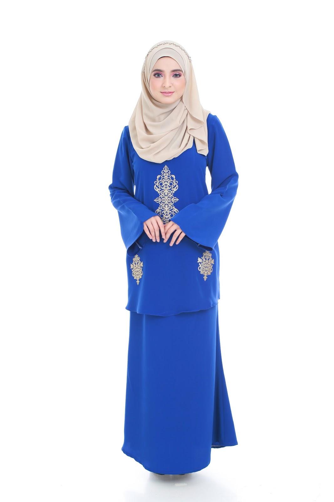 baju kurung moden prada lace qalisya royal blue plugin