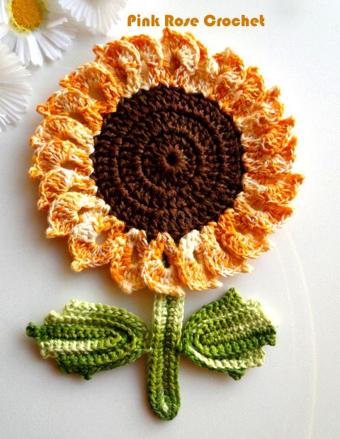 Pink Rose Crochet Pega Panelas Flor E Folhas Girassol