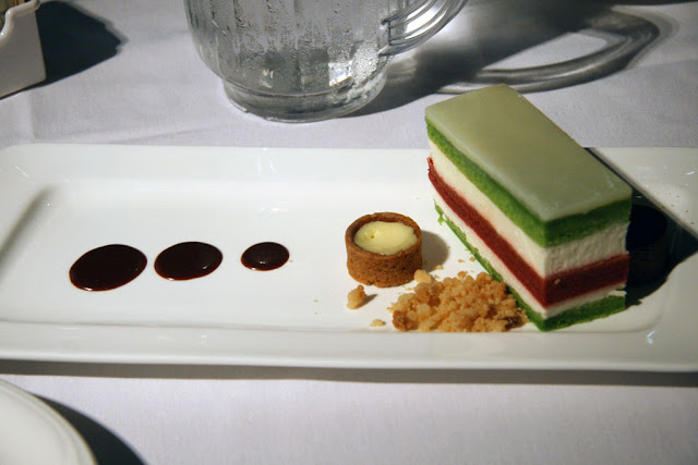 Spinach and Beetroot cake layered with Mascarpone cheese mousse from Hotel Selkirk