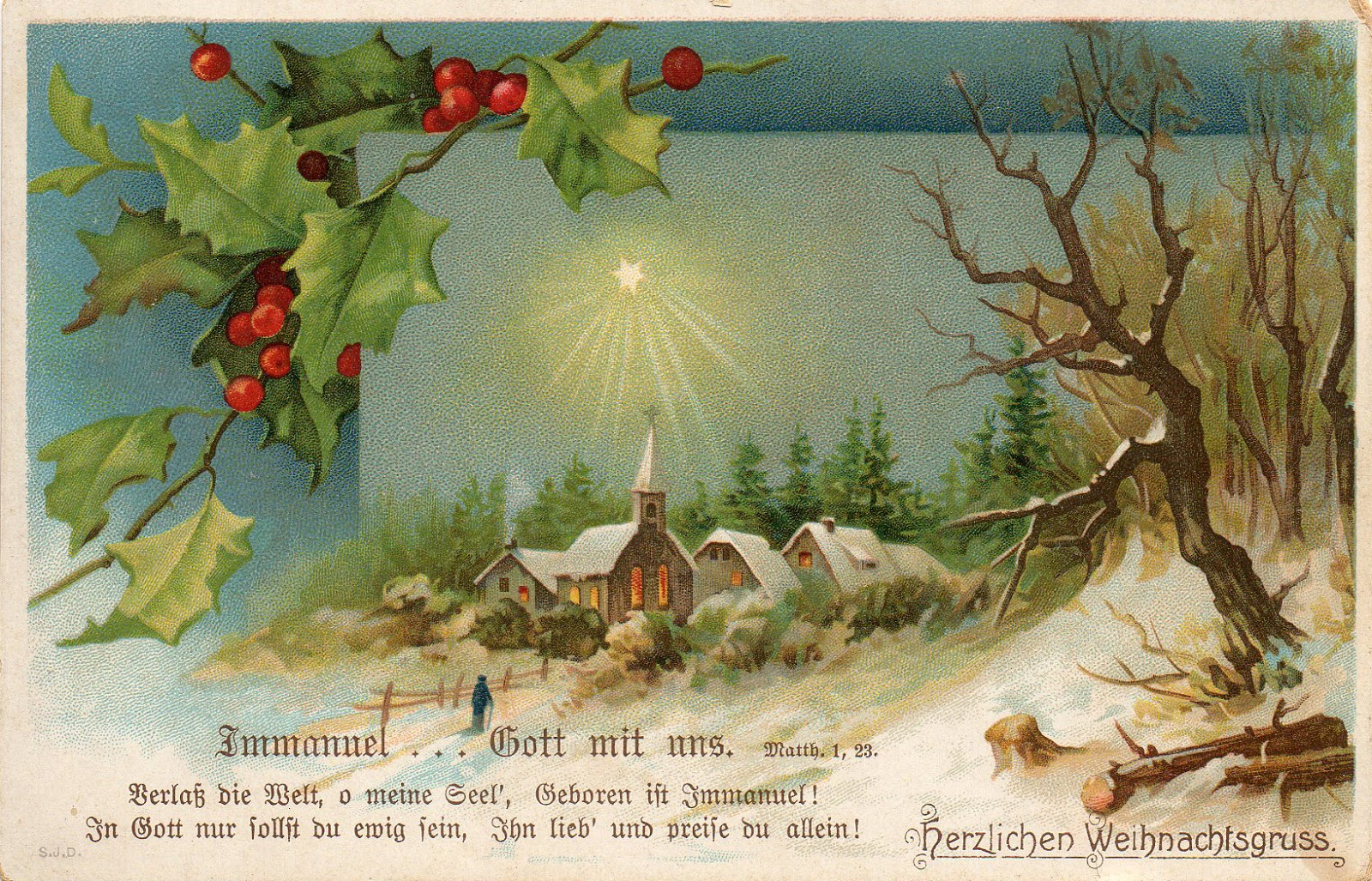 Traditional german christmas greetings xmast 2 leaping frog designs vintage german christmas post card m4hsunfo