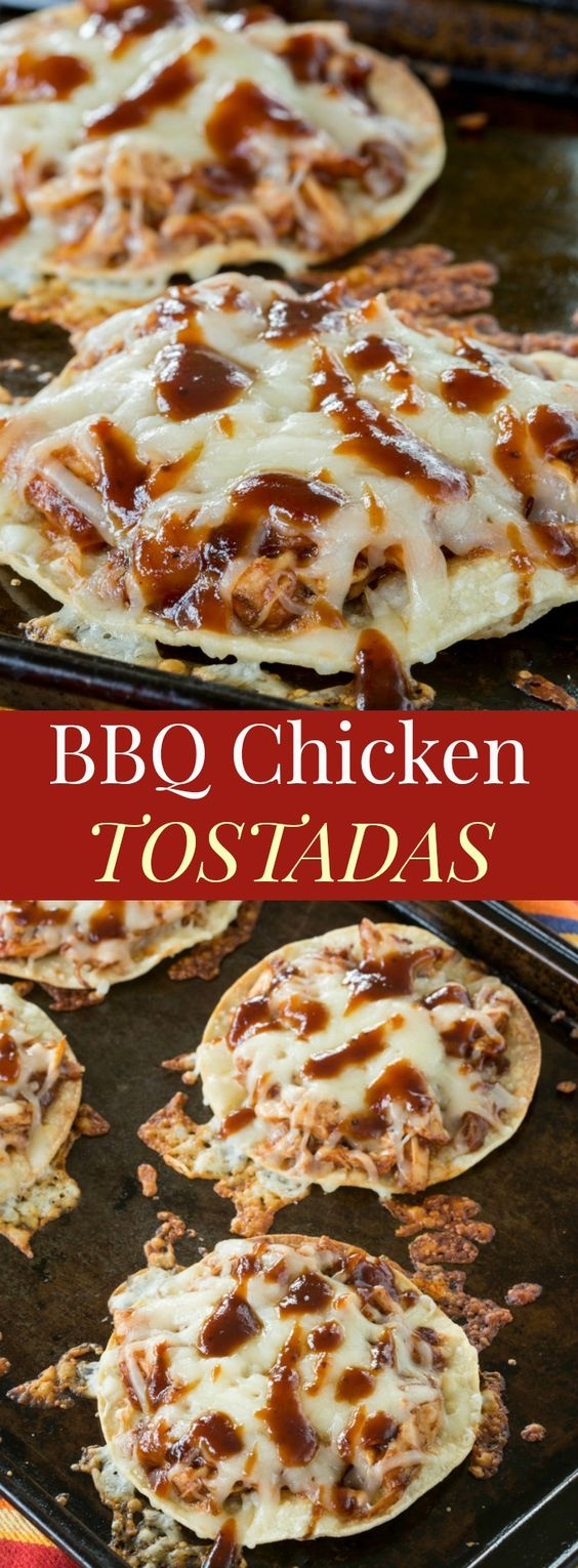 BBQ Chicken Tostadas are a simple meal the family will love, especially on busy nights. Pick up a rotisserie chicken from the store, use up leftovers, or even make a new batch in your slow cooker. Then just grab some barbecue sauce, cheese, and tortillas or tostada shells for a meal the family will love that comes together in minutes. This easy BBQ chicken tostada recipe is one of the best quick and easy dinner recipes for busy nights. Also, since you use corn tortillas, these barbecue chicken tostadas are also gluten free.