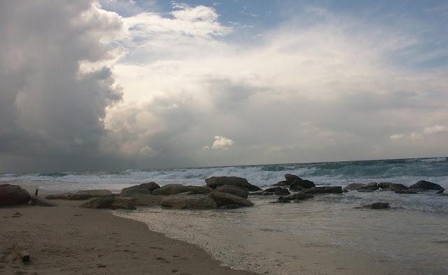 חוף הים במזג אוויר סוער