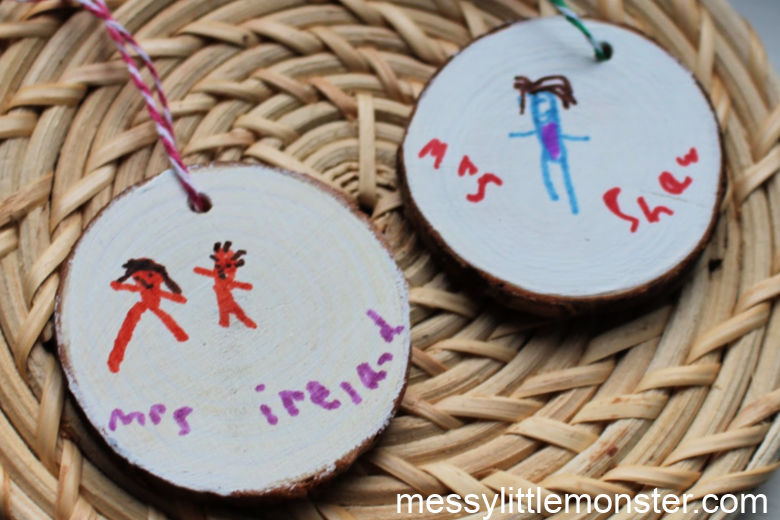 diy keychain and wood slice ornament craft for kids