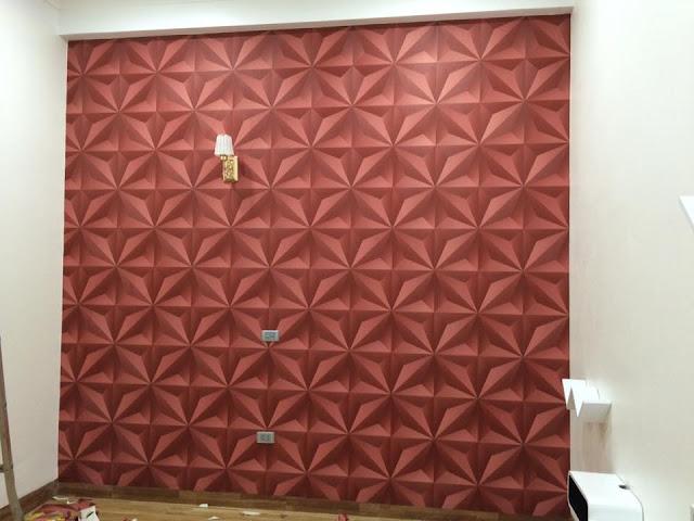 Trang trí không gian phòng khách hiện đại bằng giấy 3d dán tường