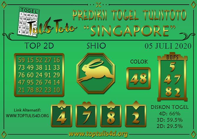 Prediksi Togel SINGAPORE TULISTOTO 05 JULI 2020