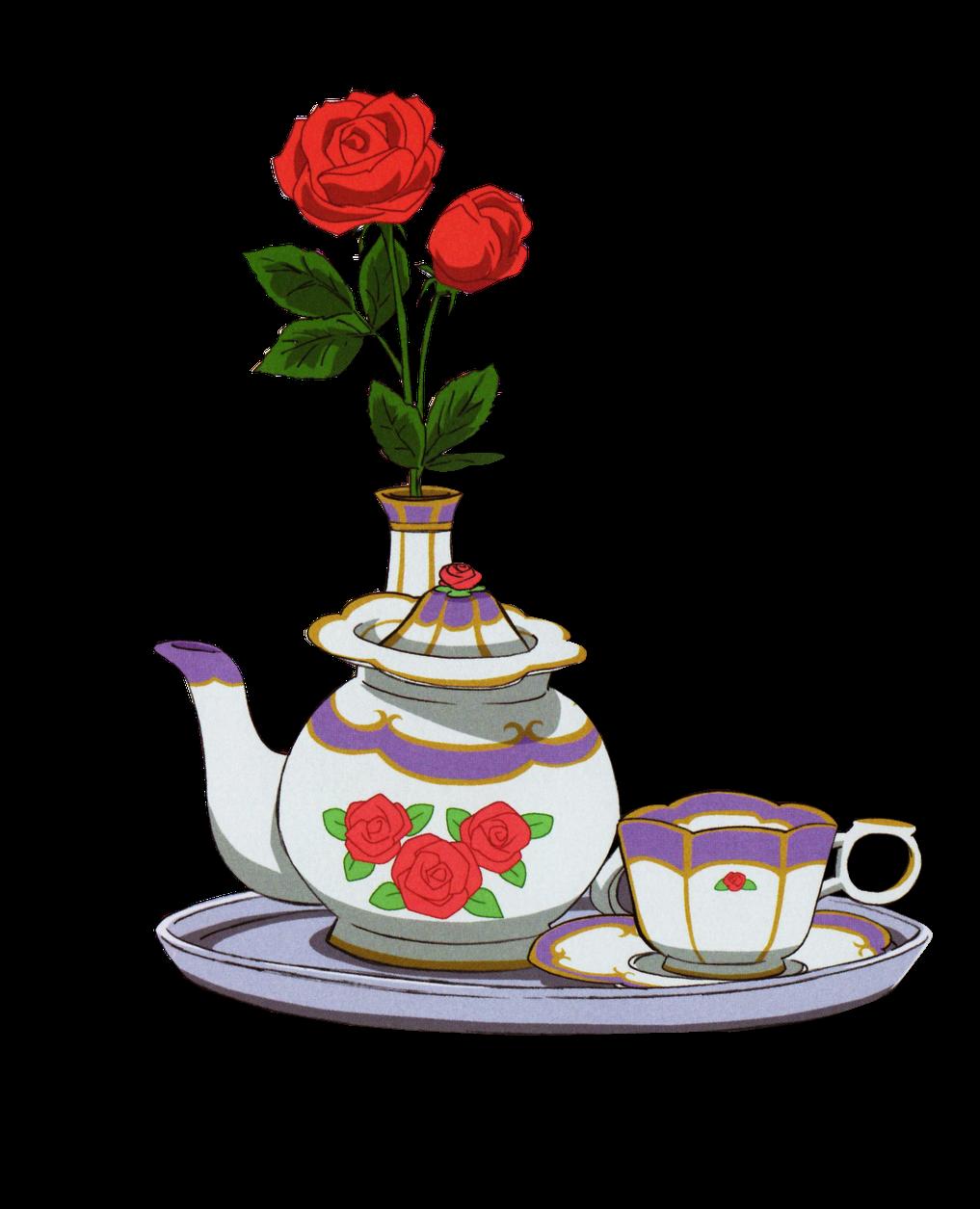 render rosas, tetera, y taza