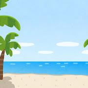 ヤシの木とビーチのイラスト(背景素材)