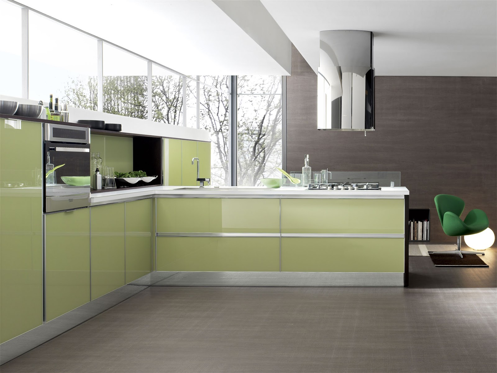 El acabado de la cocina brillo o mate cocinas con estilo for Cocinas verdes modernas