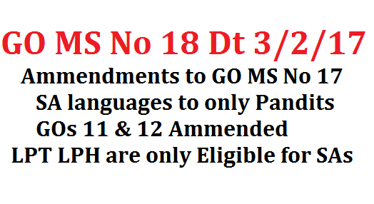GO MS No 18 Ammendments to GO MS No 17 Pandit PET Upgradation SCHOOL EDUCATION DEPARTMENT – Upgradation of 2487 Language Pandits as School Assistants (Languages) and 1047 Physical Education Teacher (PET) posts as School Assistants (Physical Education) in the State – Amendment - Orders - Issued.