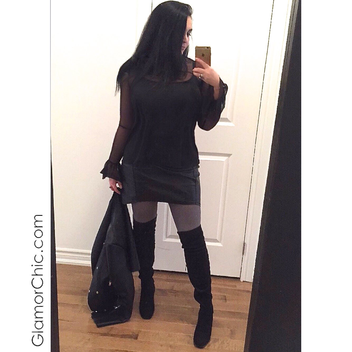 glamorchic leather skirt thigh high boots