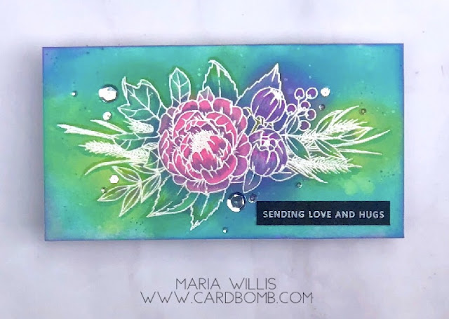 #cardbomb, #mariawillis, #heroarts, #concord&9th, #c&9, #altenew, #card, #stamp, #ink, #paper, #technique, #watercolor, #watercolorbleaching, #distressoxideinks, #distressoxides, #distressinks, #timholtz, #copics, #heatemboss, #copicmarkers,